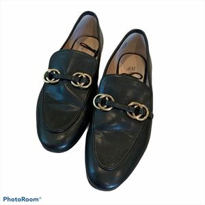 H&M Black Flat Loafers With Gold Detail Size 8M
